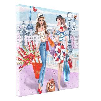 Chicas de compras en París - lona Lienzo Envuelto Para Galerias