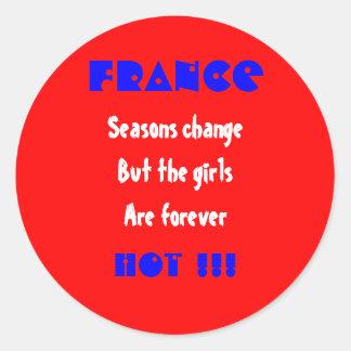 Chicas de Francia Pegatina Redonda