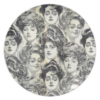 Chicas de Gibson de Charles Dana Gibson circa 1902 Platos De Comidas