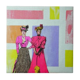 Chicas de Gibson en un modelo de Mondrian Azulejo Cuadrado Pequeño