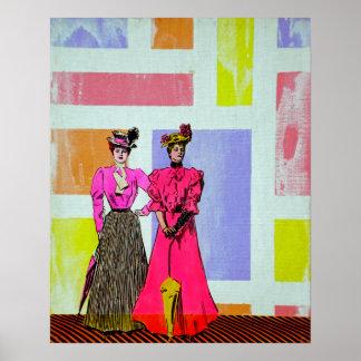 Chicas de Gibson en un modelo de Mondrian Póster