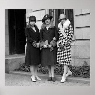 Chicas de la aleta, los años 20 de los gorras del  póster