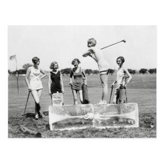 Chicas de la aleta que juegan a Golf, 1926 Postales
