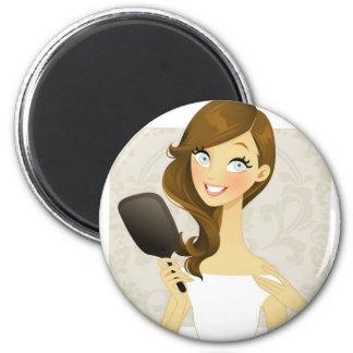 Chicas de la belleza (espejo) imán redondo 5 cm