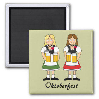 Chicas de la celebración de Oktoberfest Iman Para Frigorífico