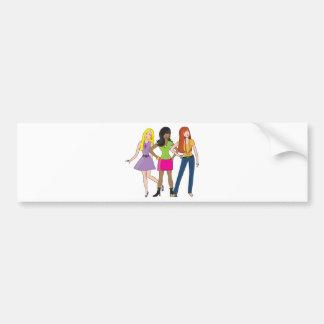 chicas de la moda etiqueta de parachoque