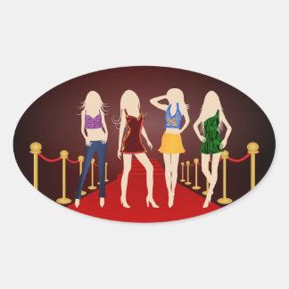 Chicas de la moda en los pegatinas del óvalo de la pegatina ovalada