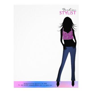 Chicas de la moda en plantilla del papel con membr membretes personalizados