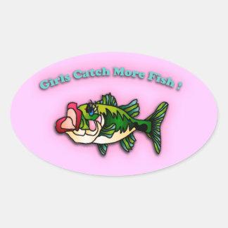 Chicas de la pesca colcomanias de oval personalizadas