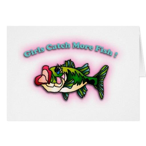 Chicas de la pesca tarjetón