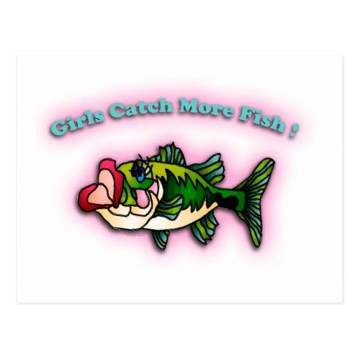 Chicas de la pesca tarjetas postales