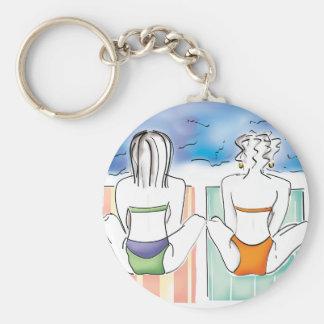 Chicas de la playa llavero redondo tipo pin