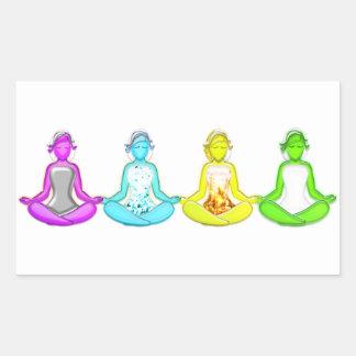 Chicas de la yoga rectangular pegatinas