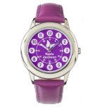 Chicas de los niños púrpuras y reloj blanco del