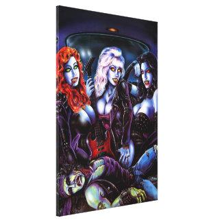 Chicas de metales pesados del vampiro impresiones en lona