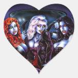 Chicas de metales pesados del vampiro pegatinas corazon