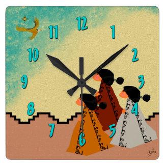 Chicas de Navajo Reloj Cuadrado