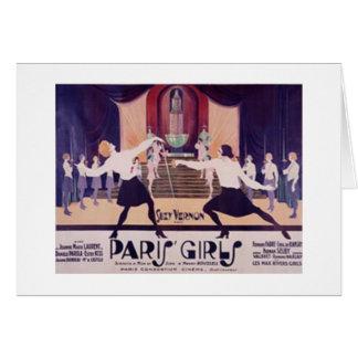¡Chicas de París del vintage que cercan la tarjeta