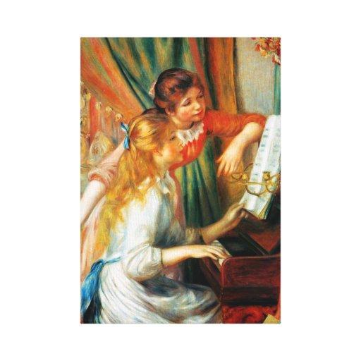 Chicas de Renoir en el abrigo de la lona del piano Impresiones En Lona Estiradas