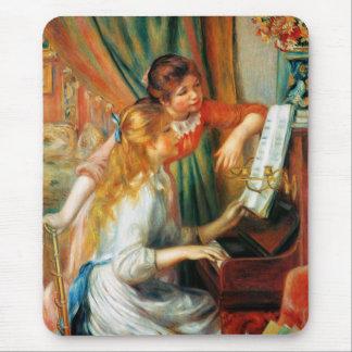 Chicas de Renoir en el cojín de ratón del piano Tapetes De Ratón