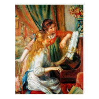 Chicas de Renoir en la postal del piano