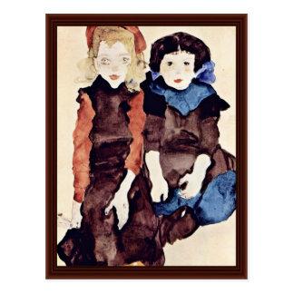 Chicas de Schiele Egon Tarjetas Postales