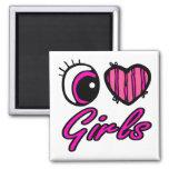 Chicas del amor del corazón I del ojo de Emo Imanes De Nevera