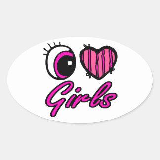 Chicas del amor del corazón I del ojo de Emo Pegatina Óval