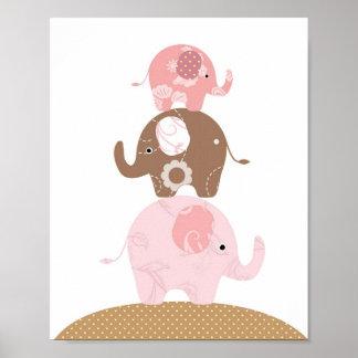 Chicas del arte del elefante del cuarto de niños póster