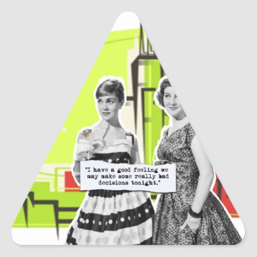Chicas del arte pop con malas decisiones pegatina triangular