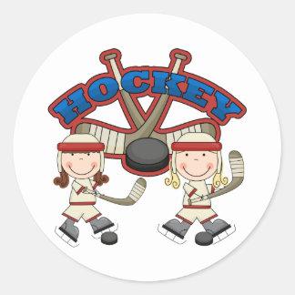 Chicas del hockey pegatina redonda