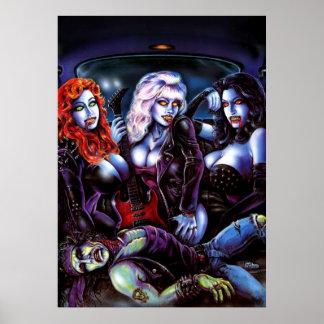 Chicas del metal del vampiro póster