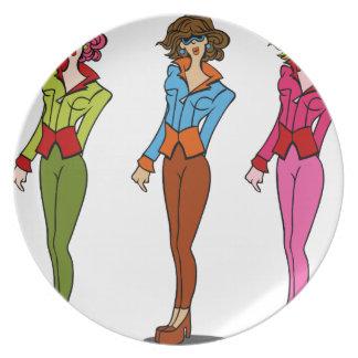 Chicas del modelo de moda que llevan las gafas de plato para fiesta