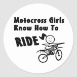 Chicas del motocrós etiquetas redondas