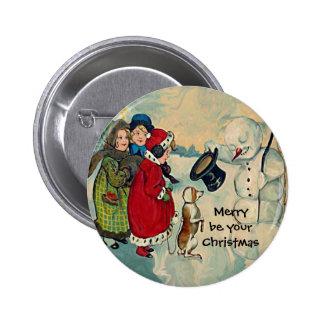 chicas del navidad del vintage pin redondo de 2 pulgadas