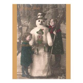 Chicas del navidad y foto del vintage del muñeco membrete
