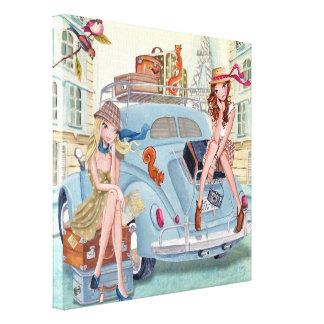 Chicas del viaje en París - lona Lona Envuelta Para Galerías