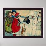 chicas del vintage con el muñeco de nieve posters
