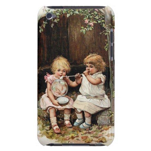 Chicas del vintage de las burbujas que soplan iPod touch carcasa