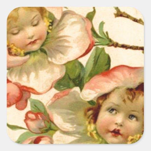 Chicas del vintage en la tarjeta de pascua de las pegatina cuadrada