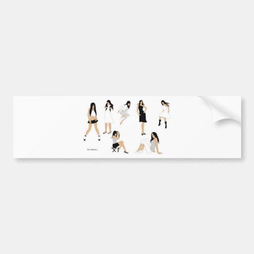 Chicas elegantes etiqueta de parachoque