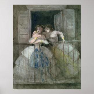 Chicas en el balcón, 1855-60 póster