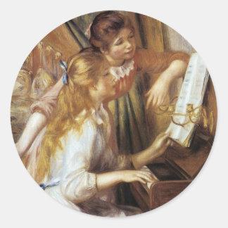 Chicas en el piano pegatina redonda