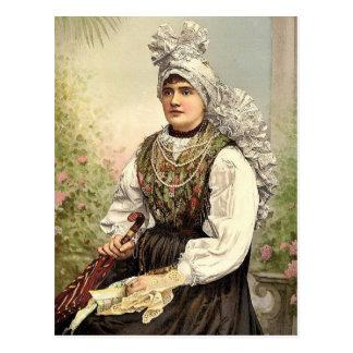 Chicas en el traje nativo, Carniola, Austro-Hungrí Tarjeta Postal