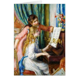 Chicas en la pintura de Pedro Auguste Renoir del p Tarjeta Pequeña