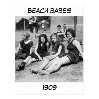 Chicas en la playa, 1900s tempranos tarjetas postales