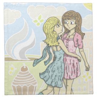 Chicas en pastel servilletas de papel
