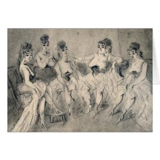 Chicas en un burdel tarjeta de felicitación