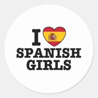Chicas españoles pegatina redonda