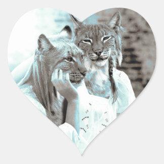Chicas felinos calcomanías de corazones